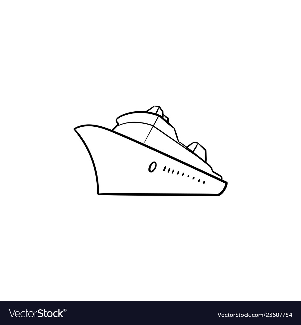 Sea cruise ship hand drawn outline doodle icon