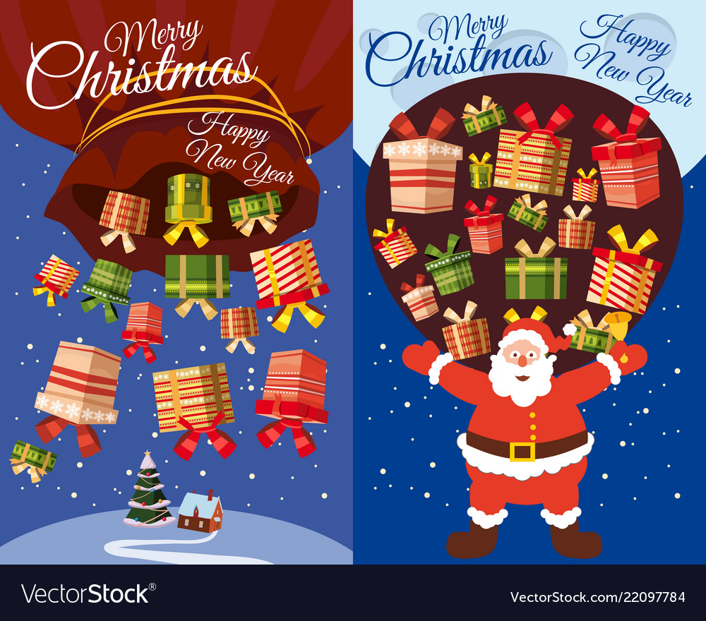 Set of postcards santa claus flying with presents