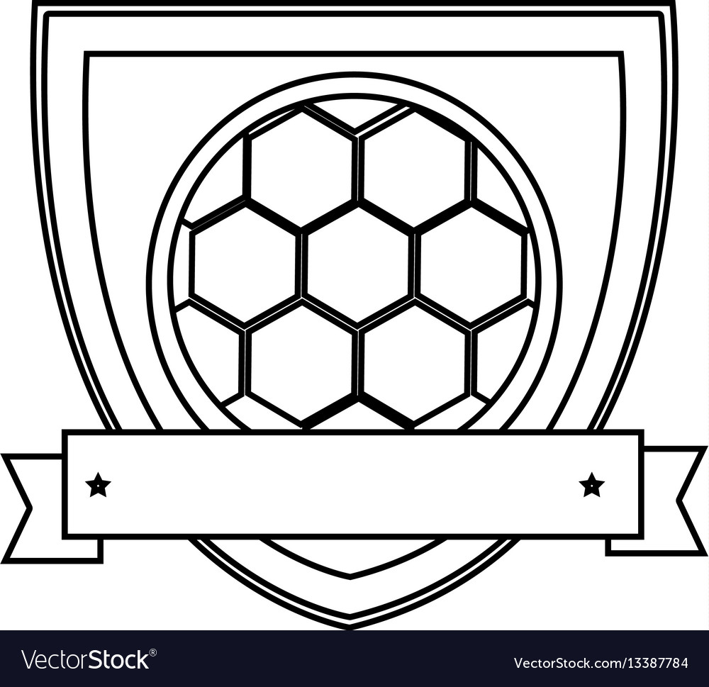 Silhouette shield with ribbon with soccer ball