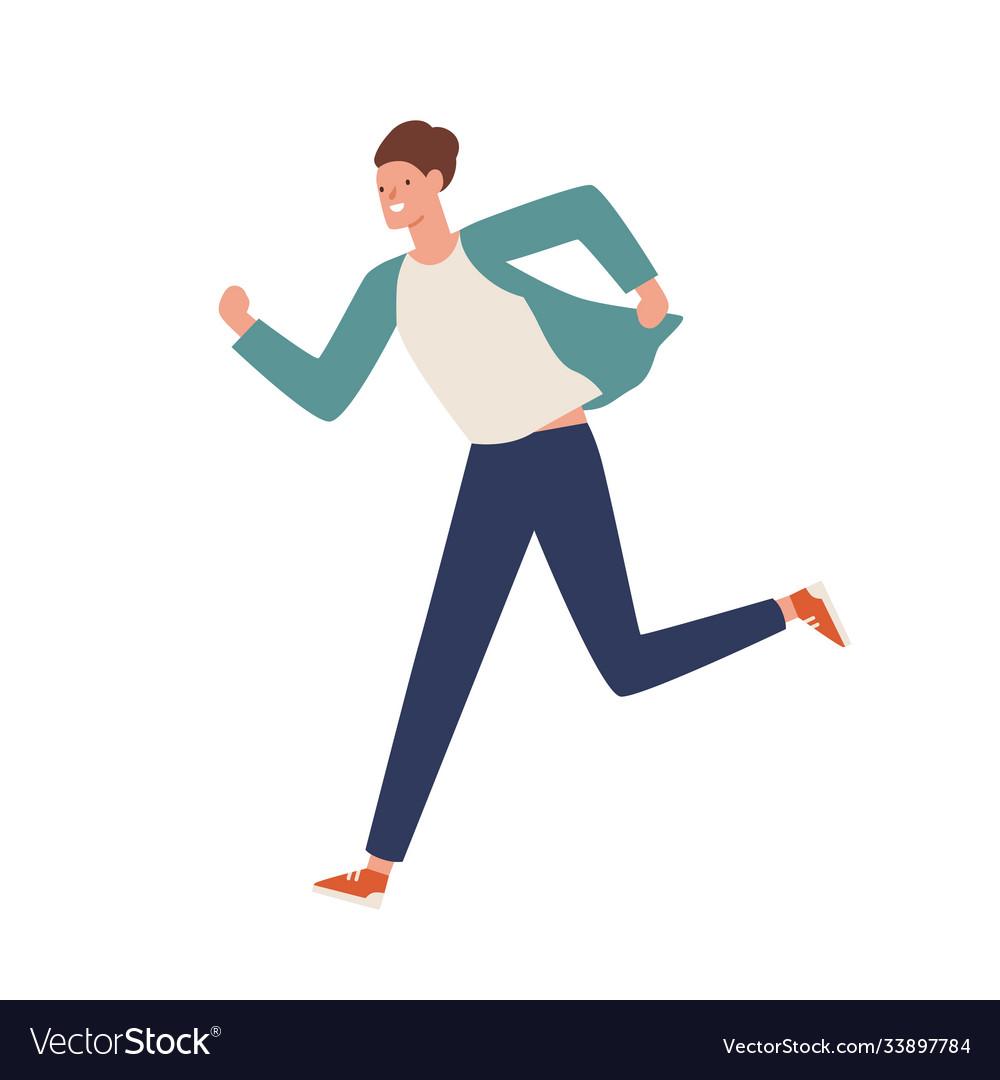 Smiling casual man running away flat