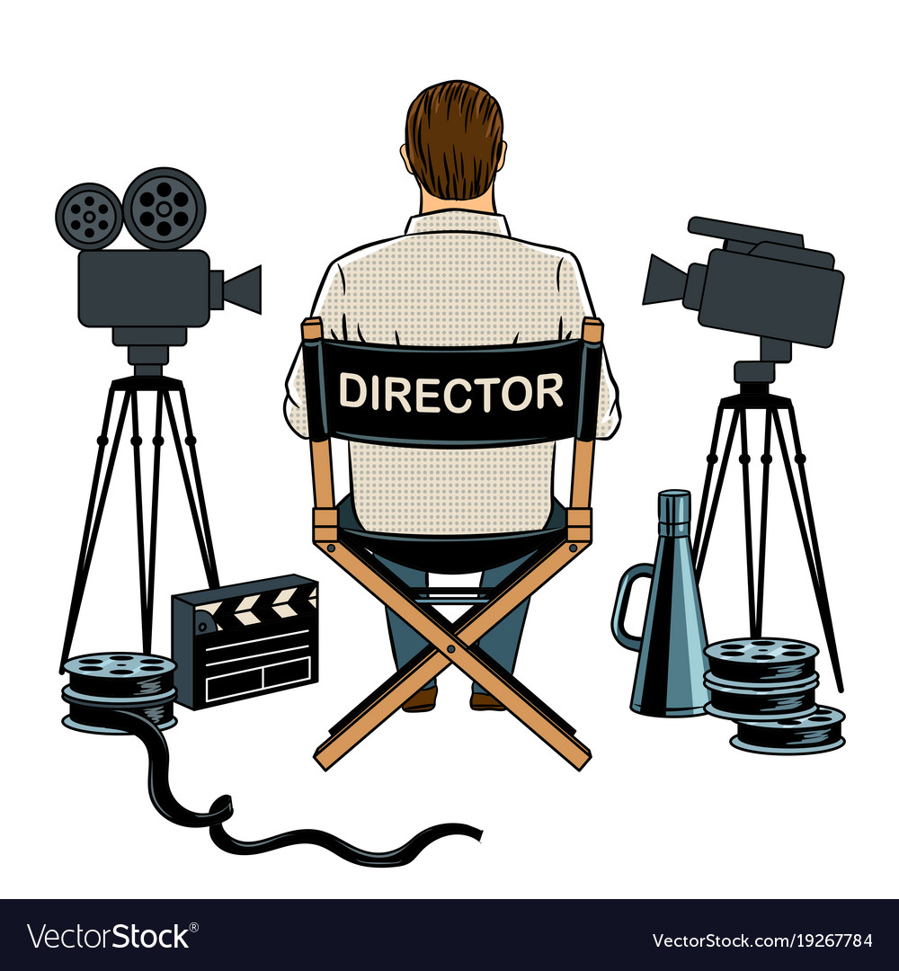 Stage Director On Set Pop Art Royalty Free Vector Image
