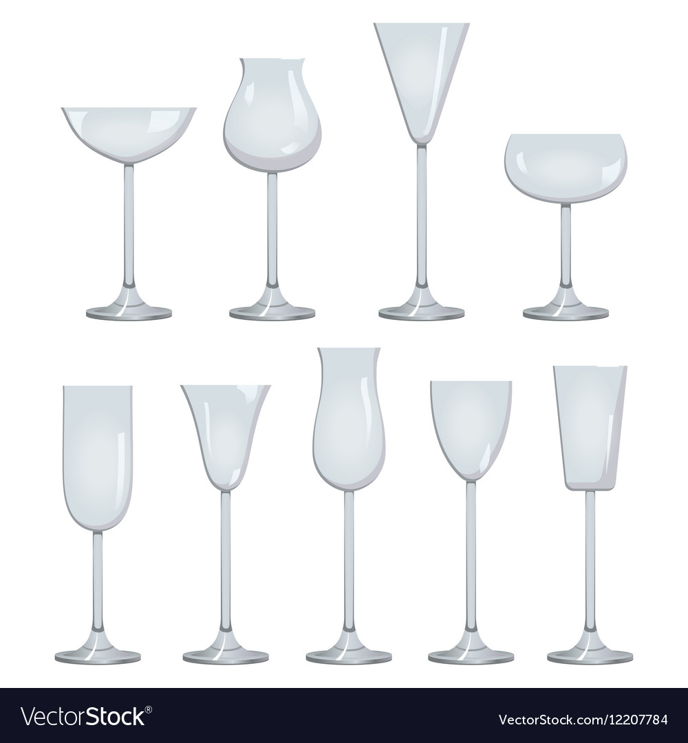 Types of Wine and Glasses Description Set of types