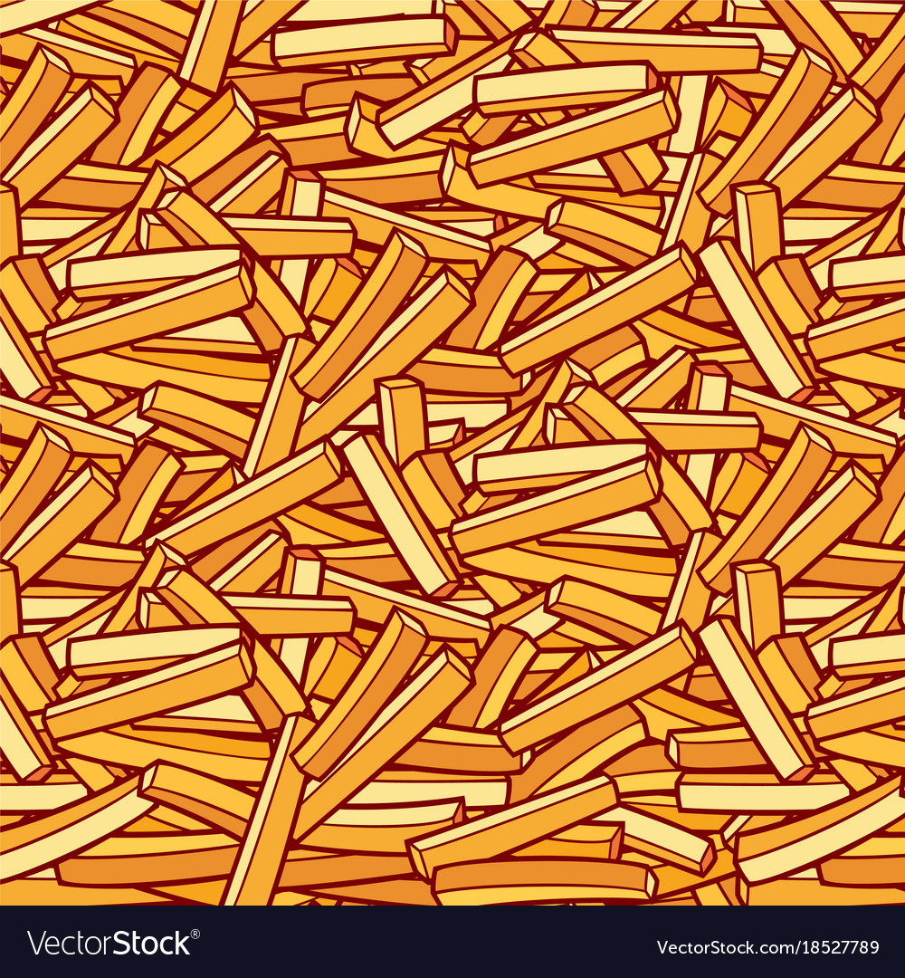 Background pattern with french fries vector image
