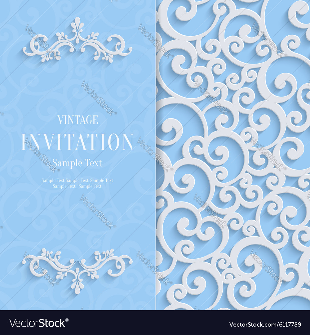 Blue 3d vintage invitation card with swirl vector image stopboris Images