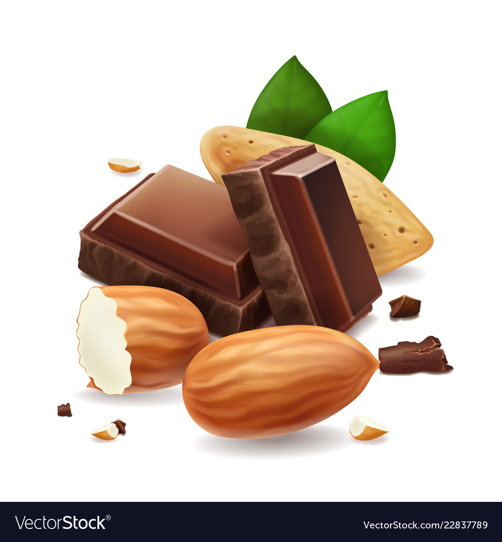 Chocolate pieces with almonds nuts