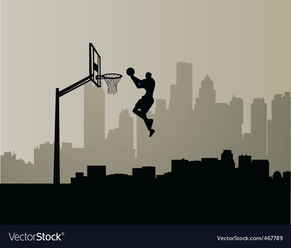 Cityscape slam dunk vector image