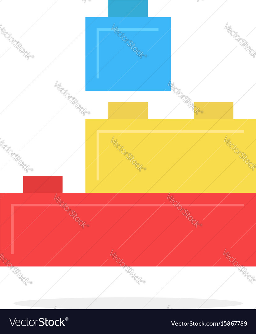 Colored building block toy with shadow