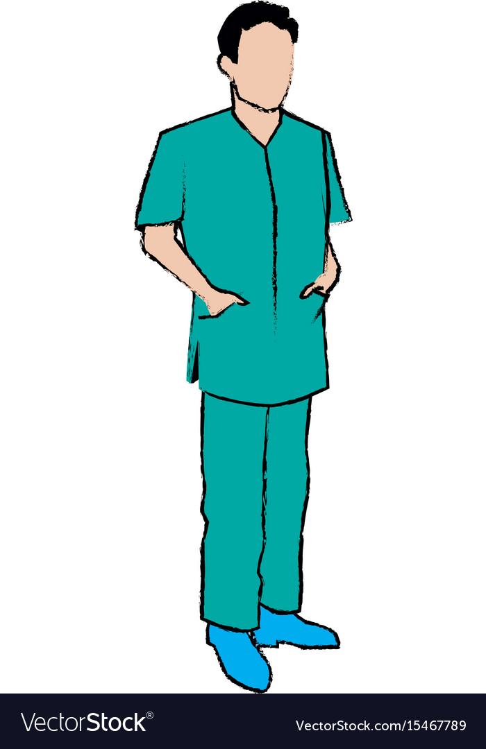 Doctor man wearing surgery suit clean vector image