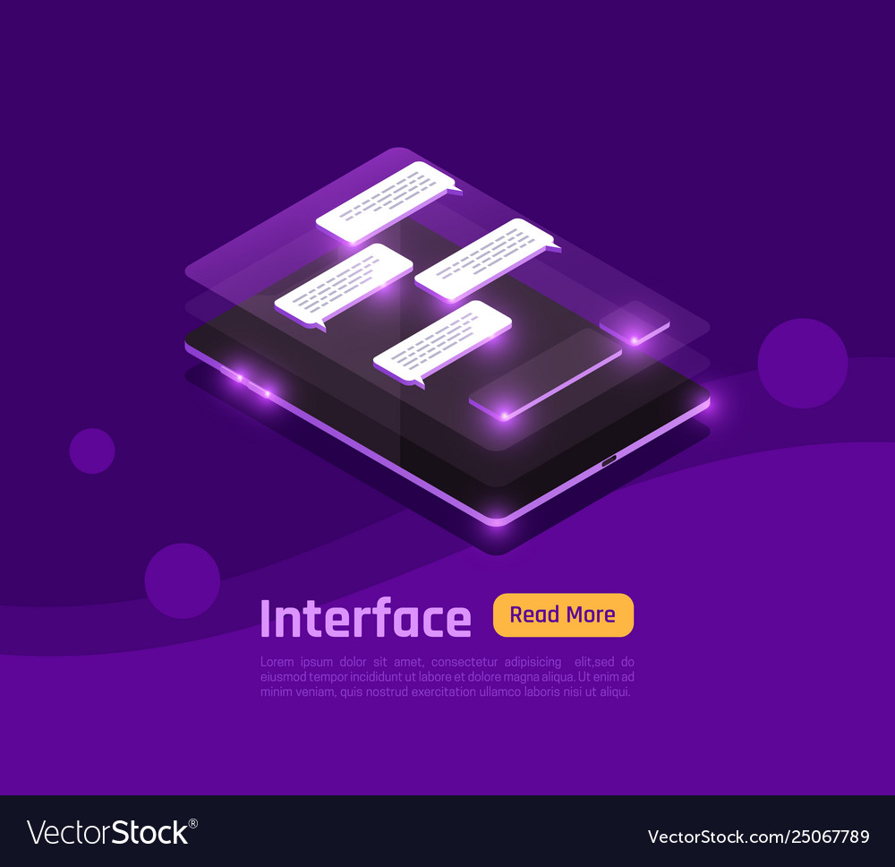 Isometric people and interfaces glow banner