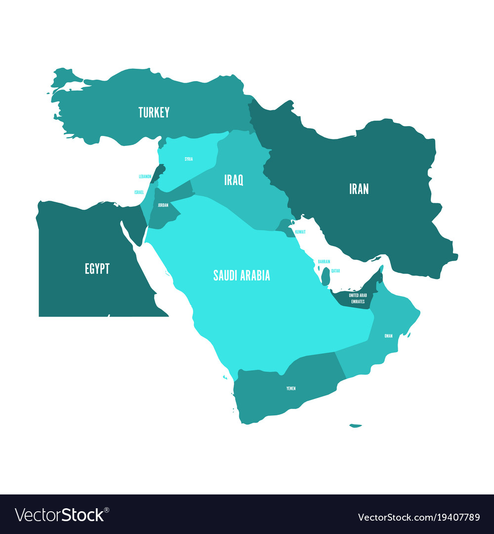 Middle East Map.Map Of Middle East Or Near East In Shades Of Vector Image