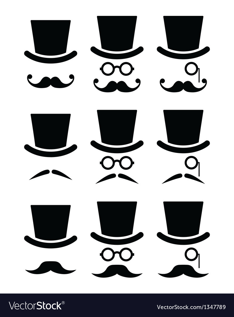 Mustache or moustache with hat and glasses icons