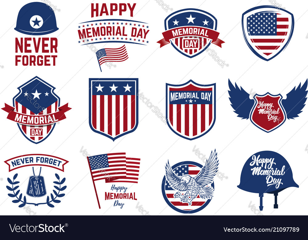 Set memorial day emblems design elements