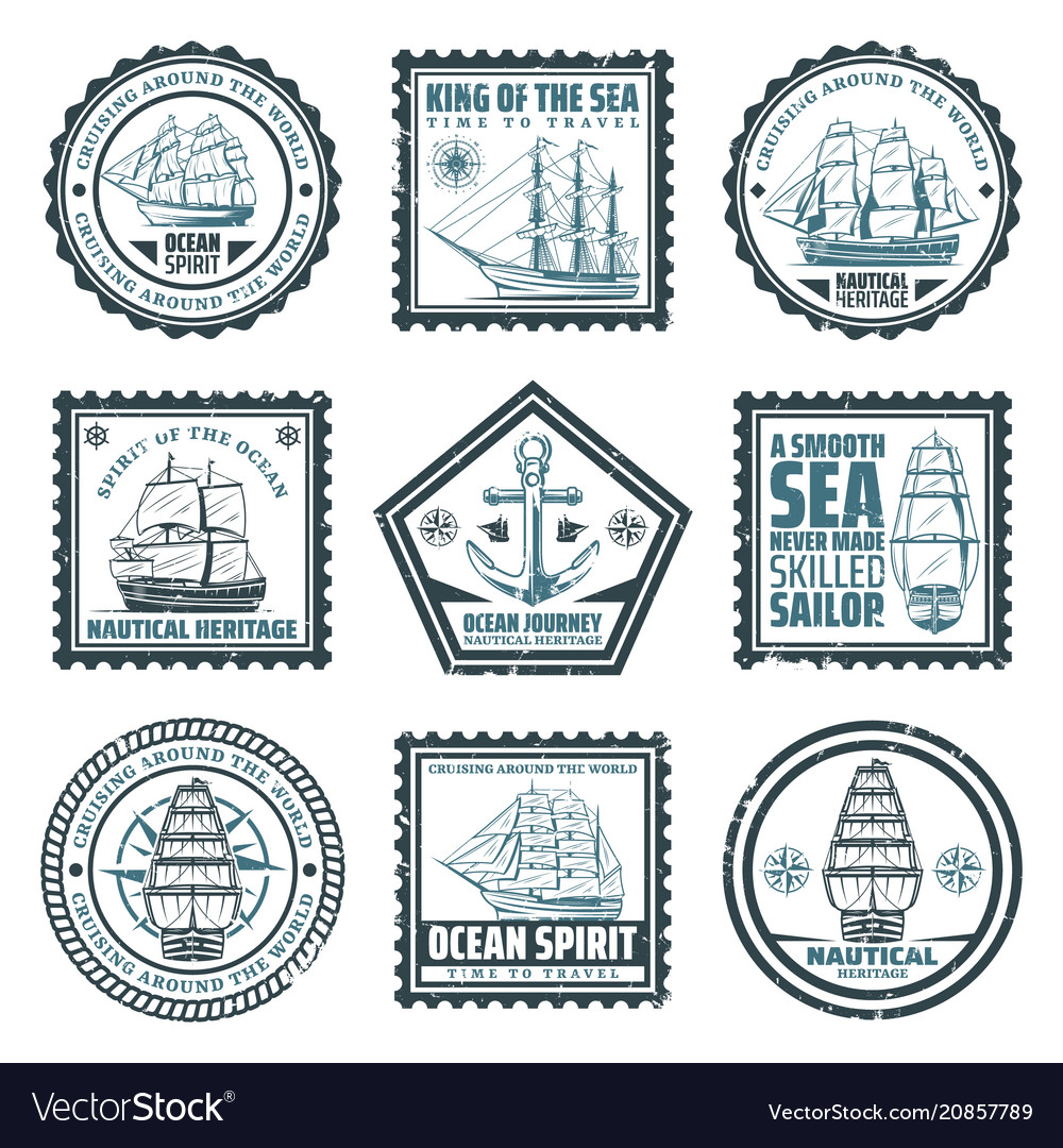 Vintage ships and vessels stamps set
