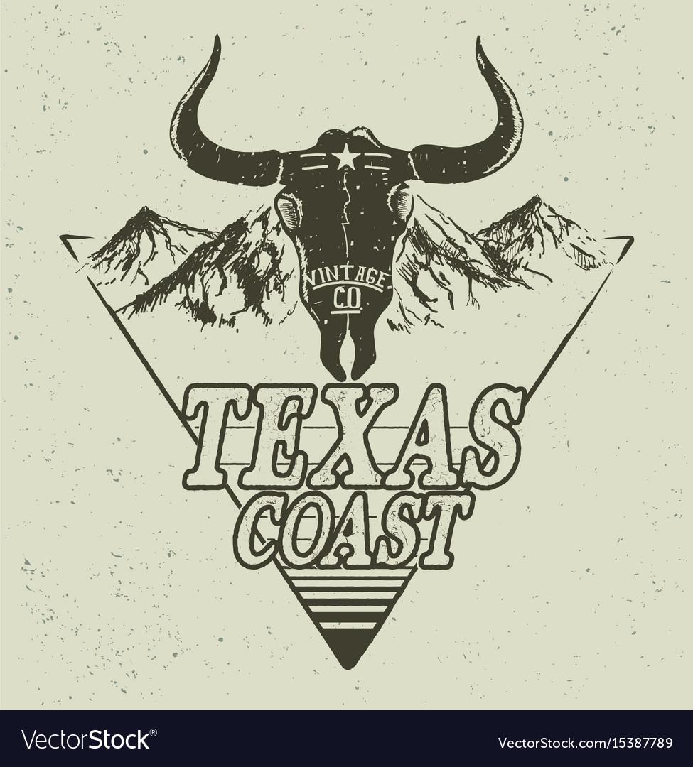 Western logo with bull head vector image
