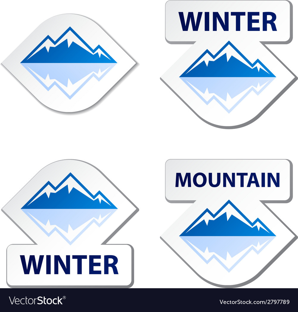 Winter blue mountain stickers