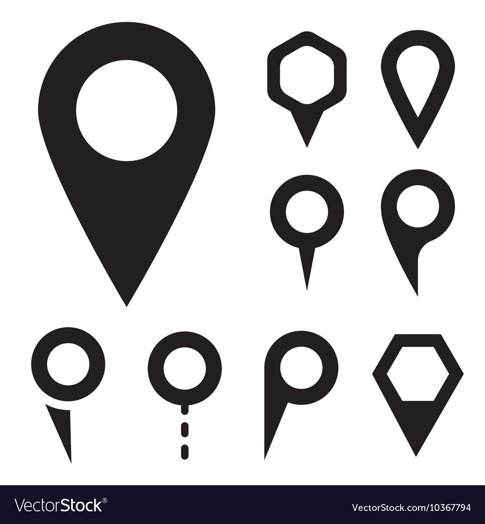 Black map pointer icons set