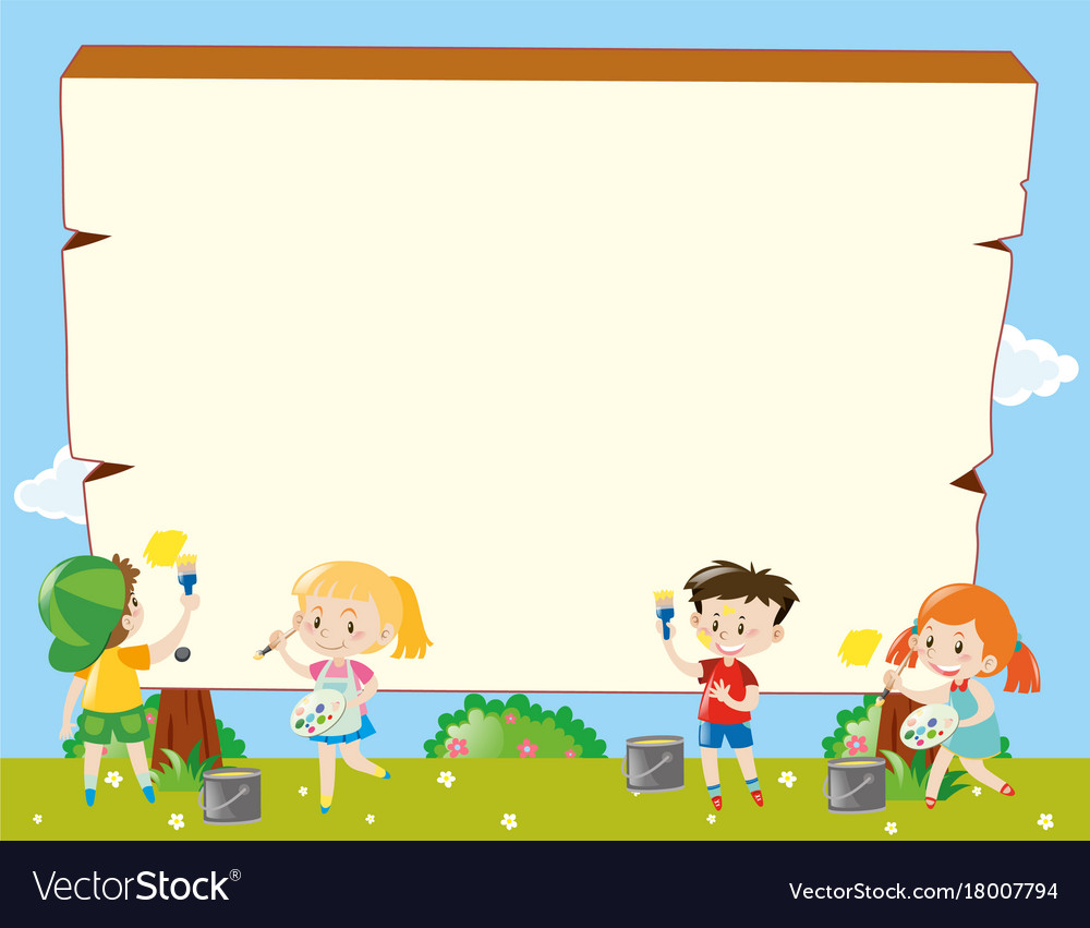 Border template with kids painting Royalty Free Vector Image