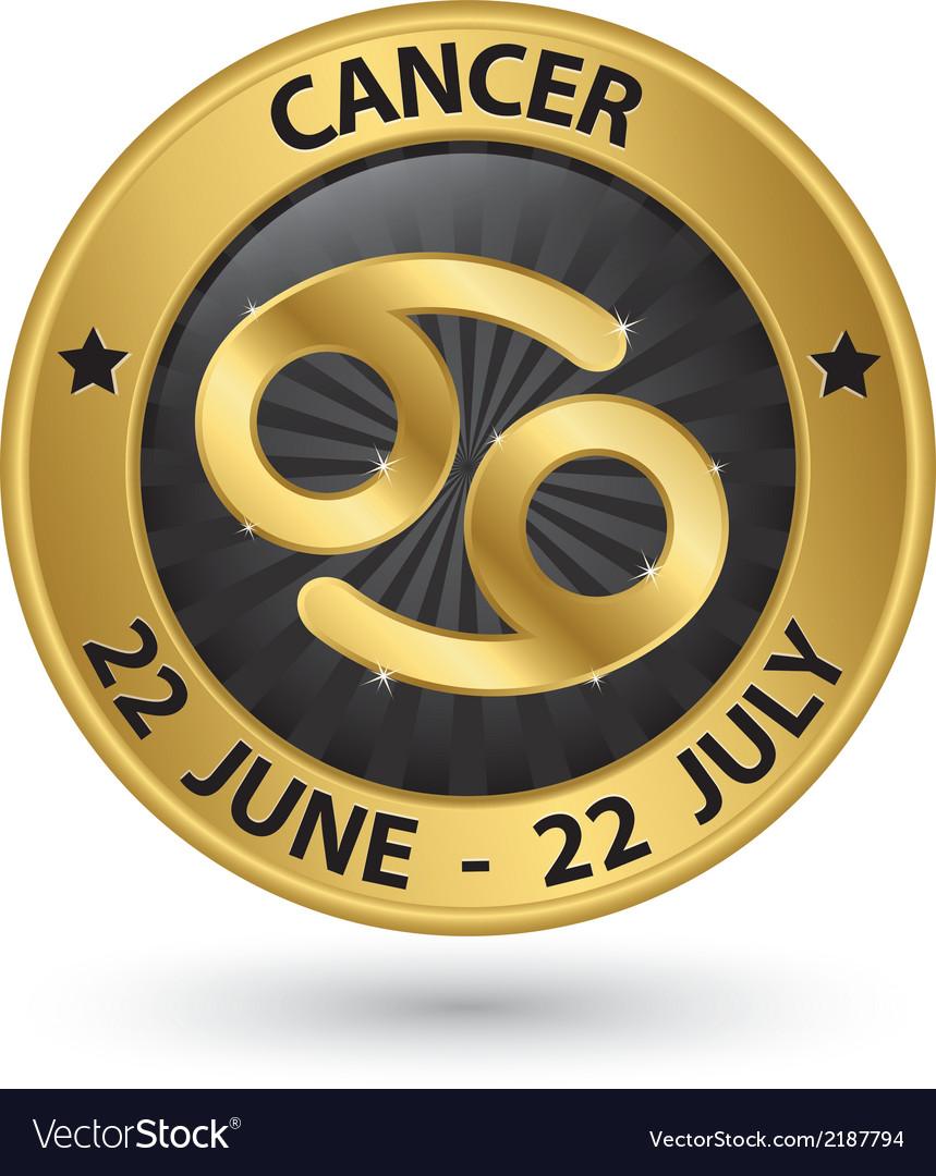 Cancer Zodiac Gold Sign Cancer Symbol Royalty Free Vector
