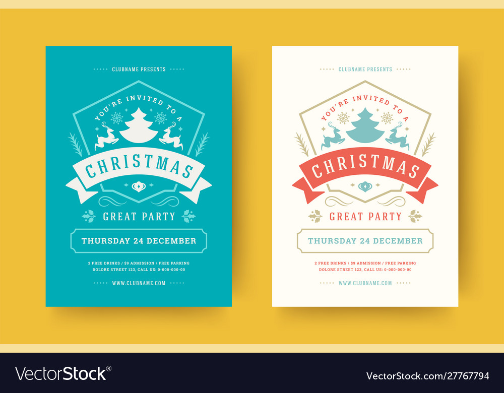 Christmas party flyer event vintage typography and