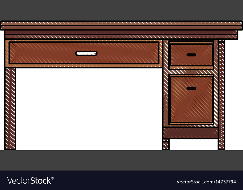 Drawing Office Desk Wooden Drawer Handle Furniture Vector Image