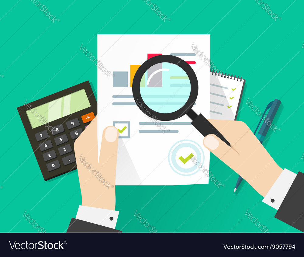Financial audit auditing tax process paper sheet vector image
