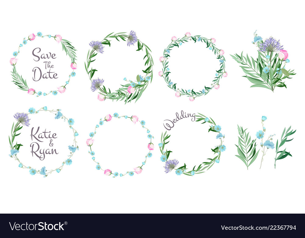 Floral frames circle shapes with flowers branches