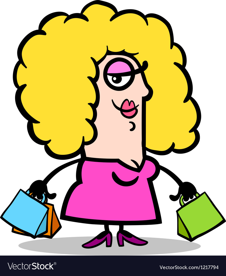 Happy woman with shopping bags cartoon vector image