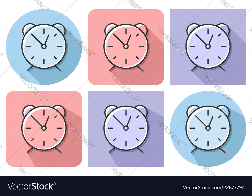 Outlined icon of alarm clock with parallel and
