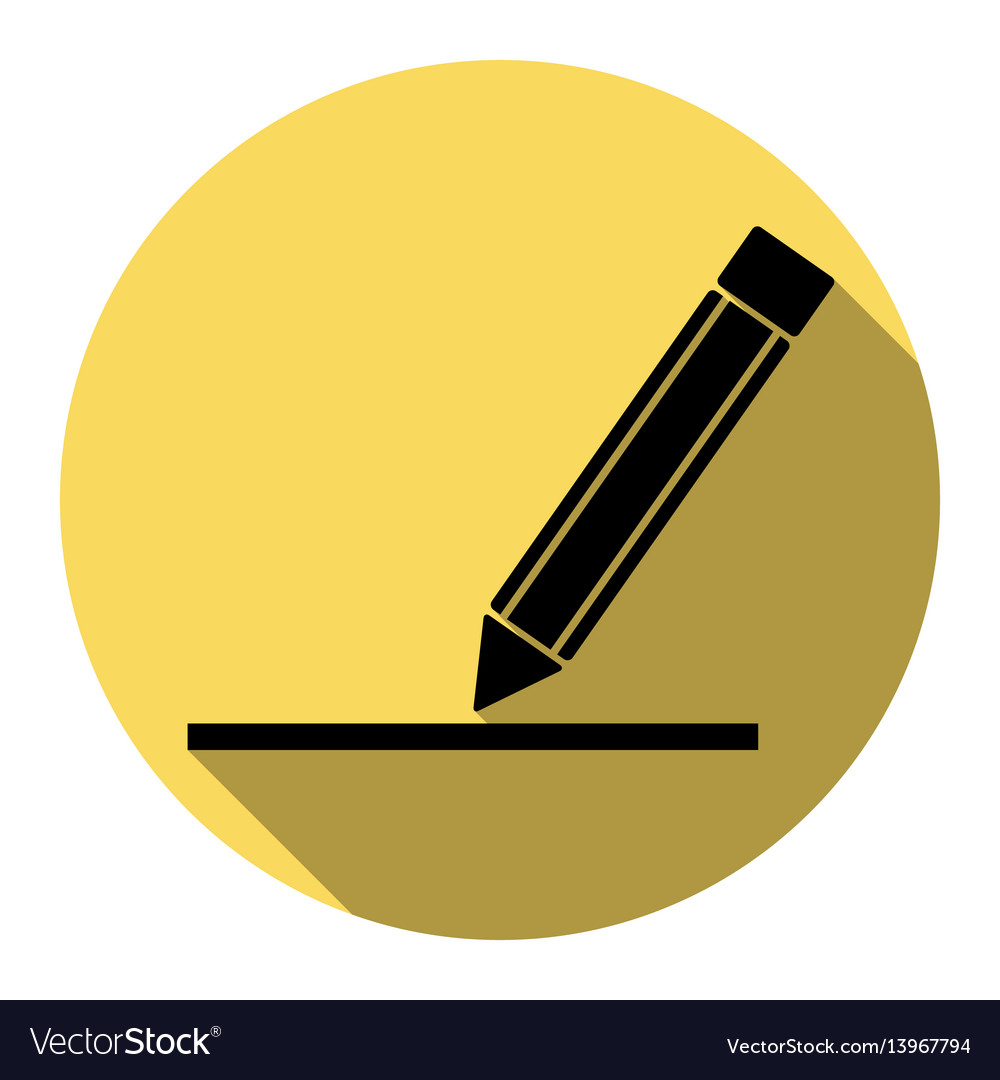 Pencil sign flat black icon vector image
