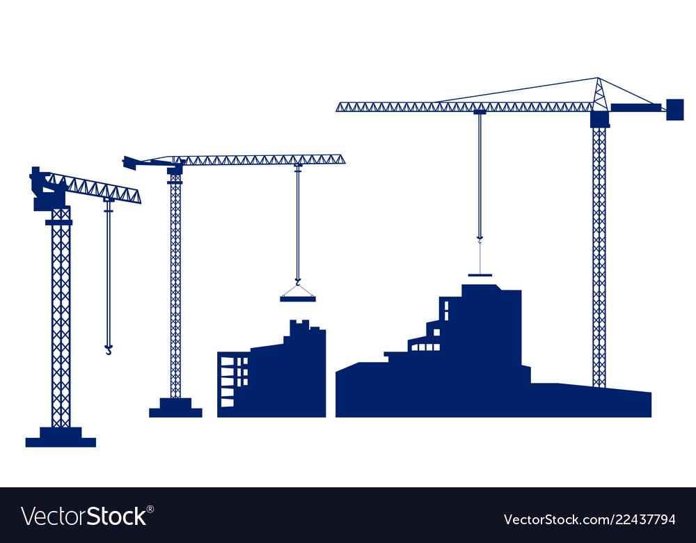 Set tower crane builds a house dark blue