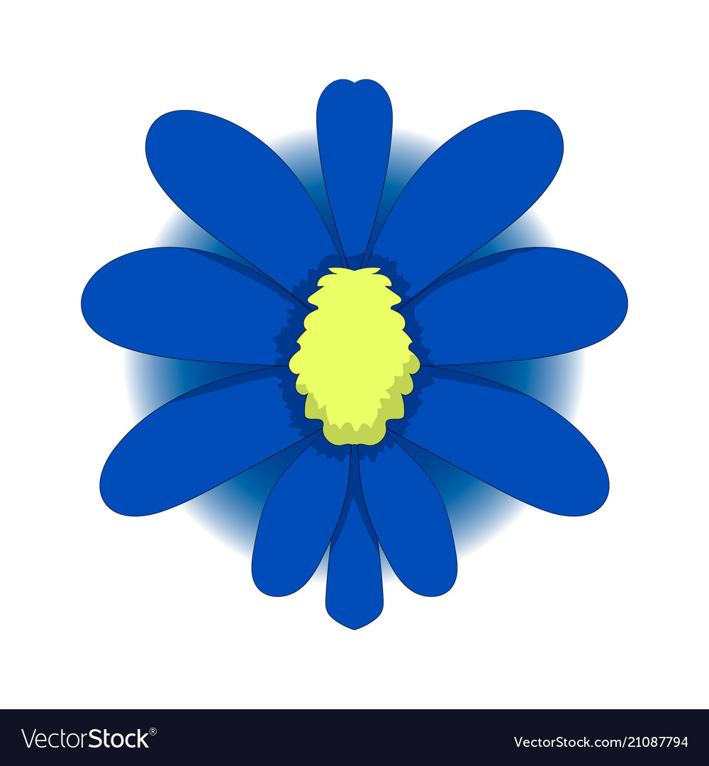 Simple Drawing A Blue Flower Graphics Royalty Free Vector