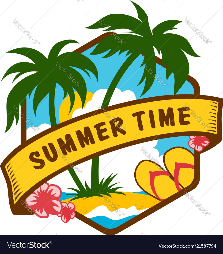 Summer time tropical emblem with sea and palms