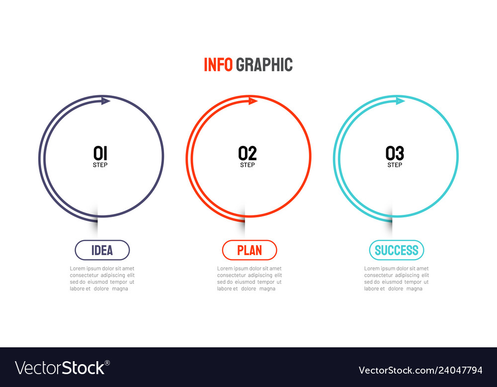 Thin line infographic elements 3 step