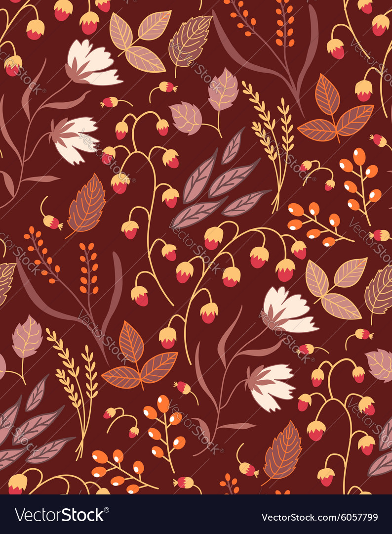 Autumn floral seamless pattern Fall autumn leaves