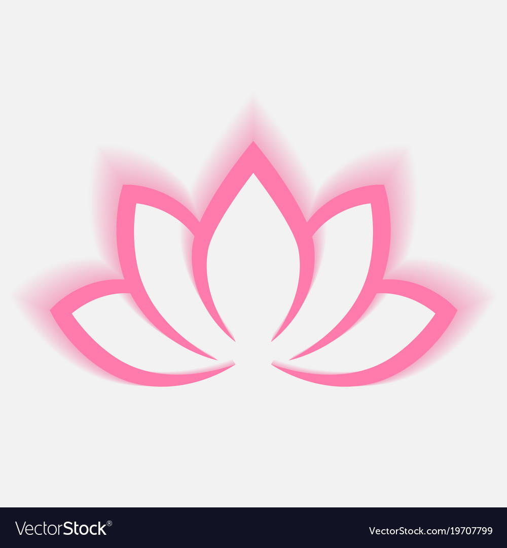 Calligraphic lotus blossom in pink-violet colors vector image