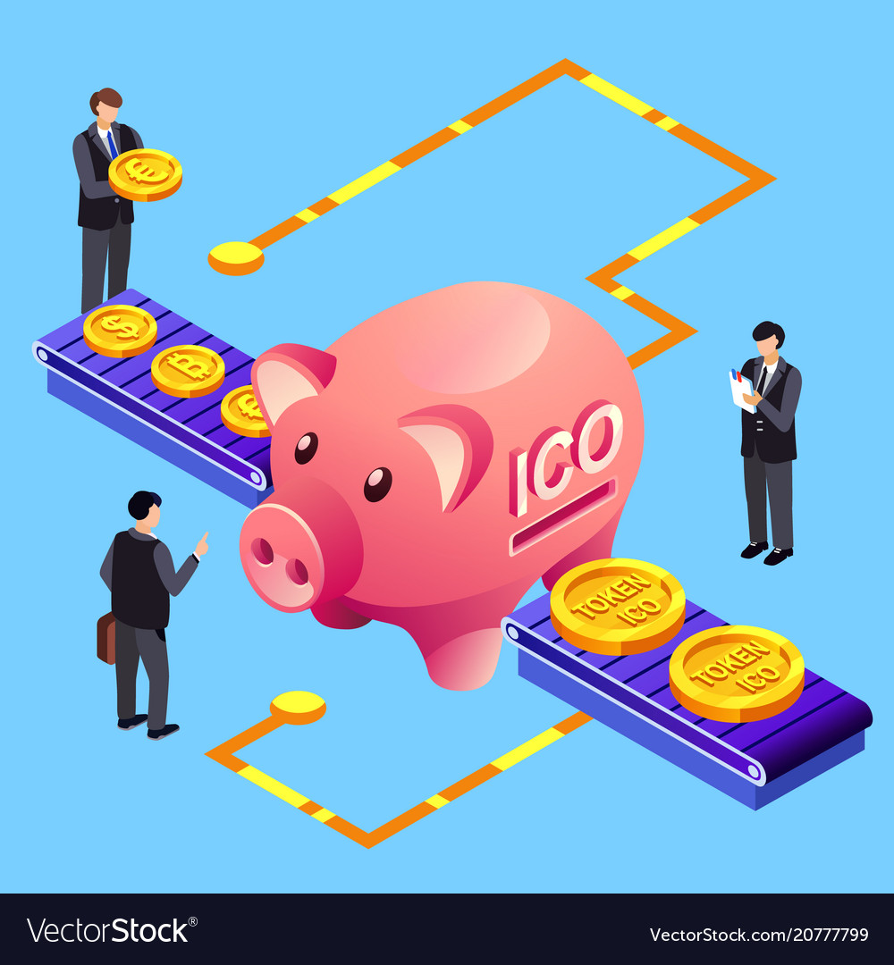 Cryptocurrency ico token bitcoin exchange vector image