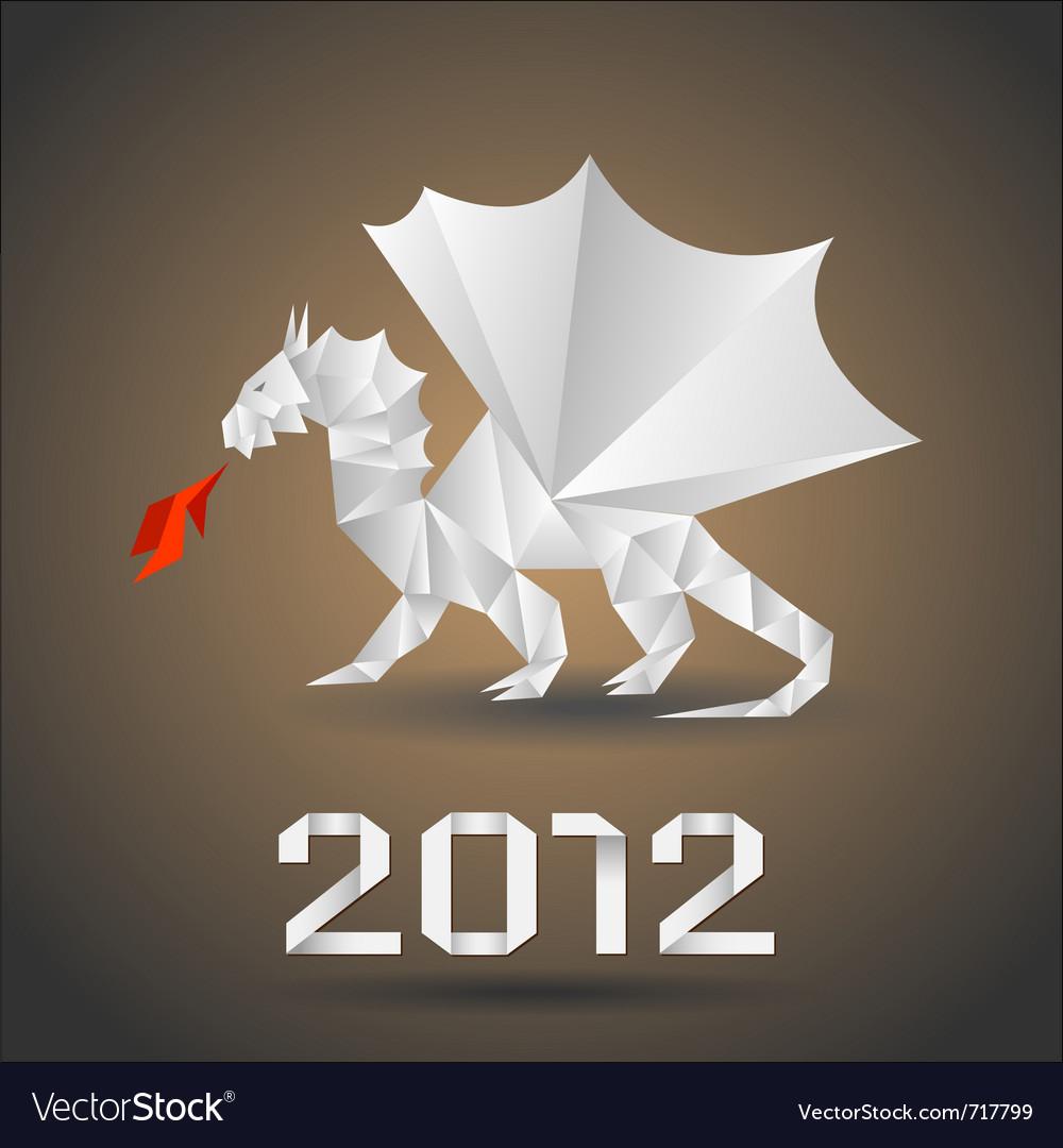 Dragon Origami Royalty Free Vector Image Vectorstock