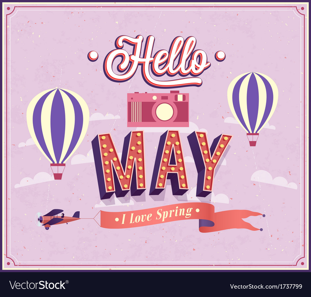 Hello may typographic design vector image