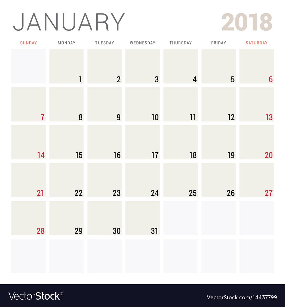 january 2018 calendar planner