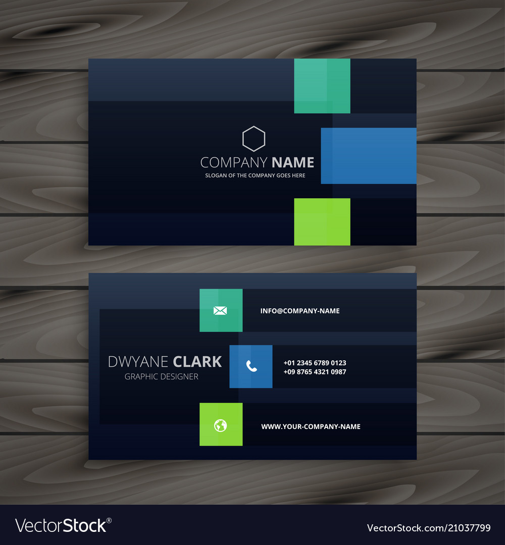 Modern company dark business card design vector image colourmoves
