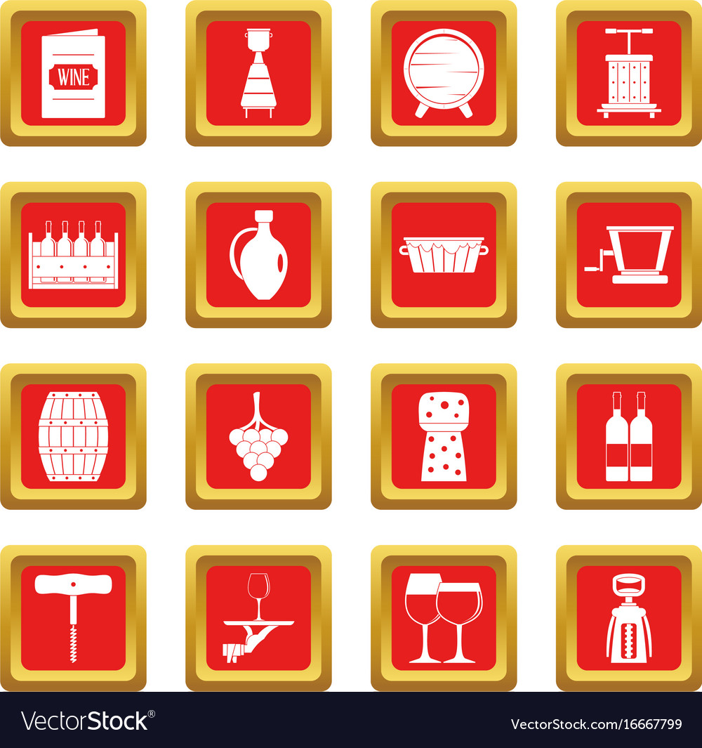 Wine icons set red vector image