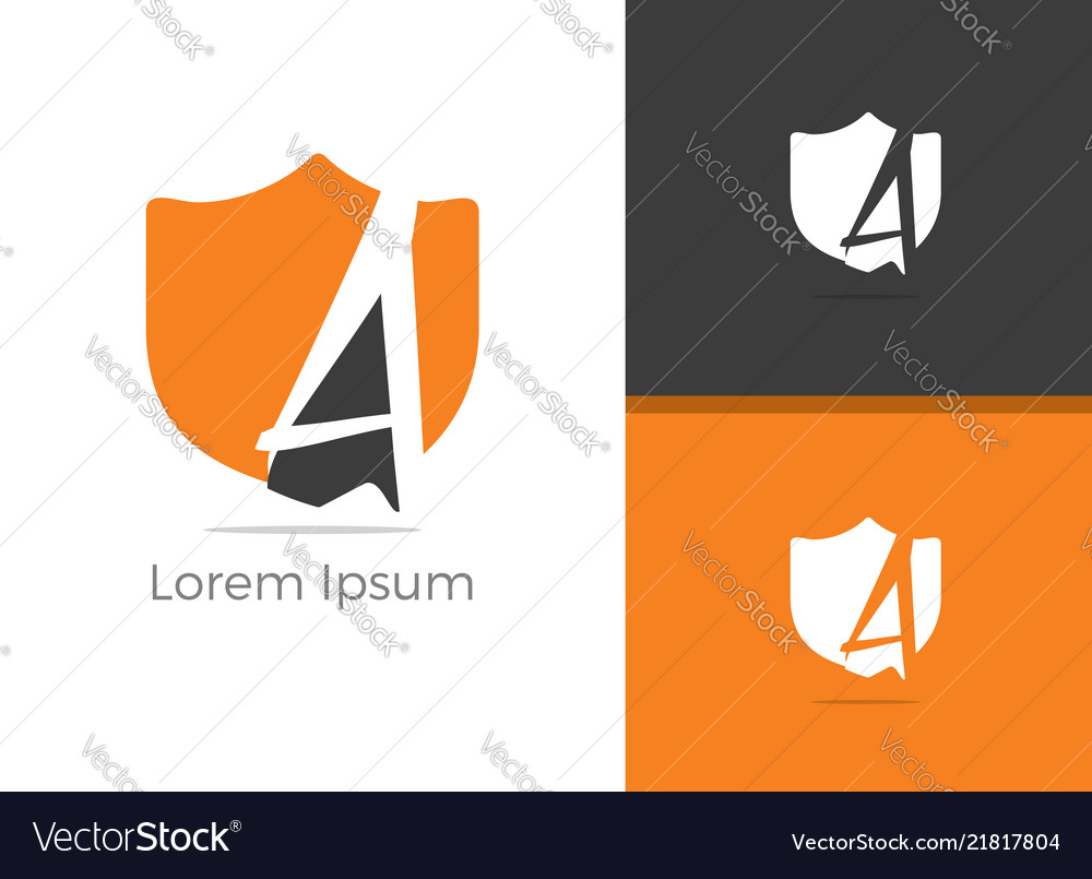 A letter logo letter a in shield icon