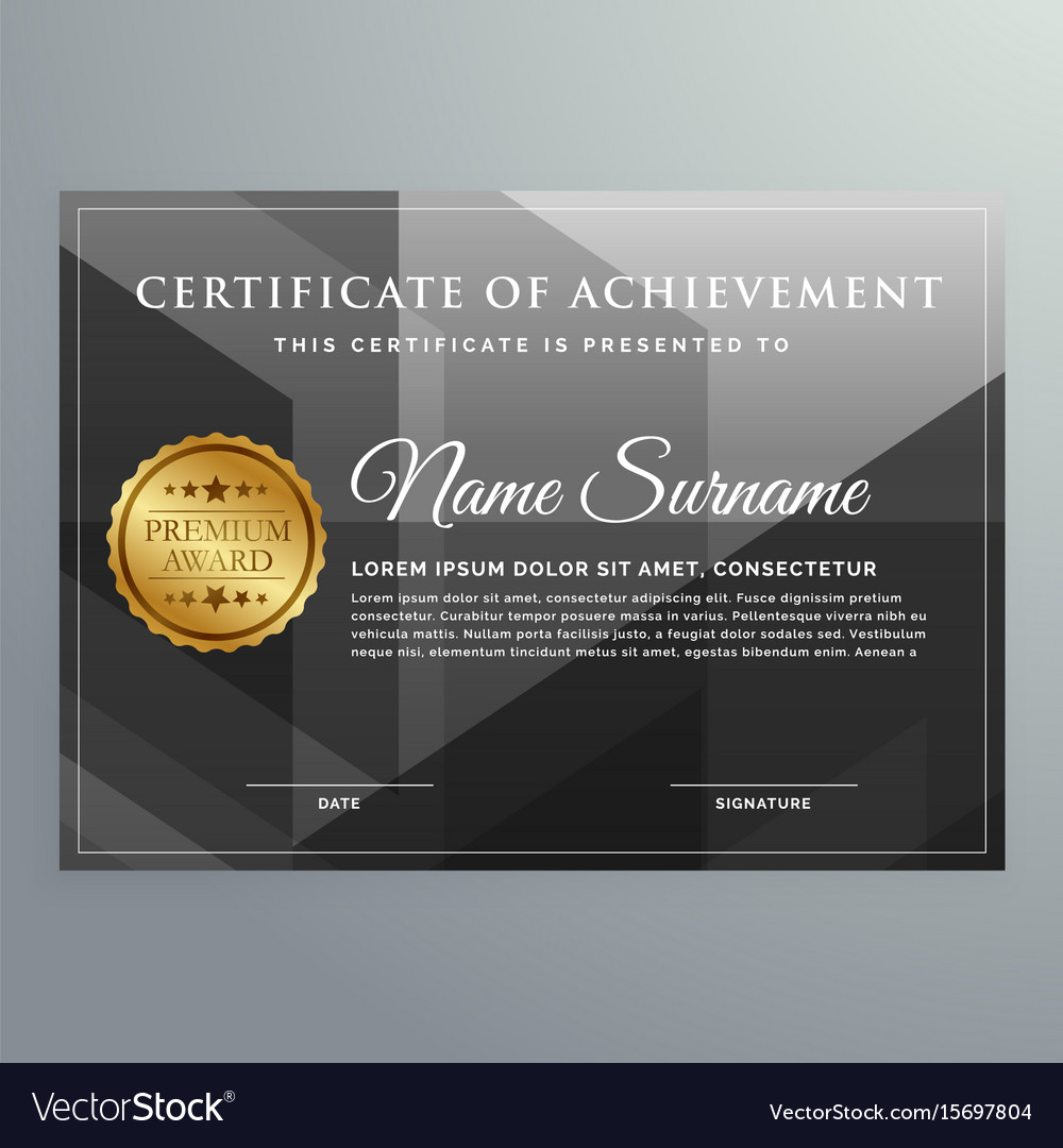 Black award certificate design template Royalty Free Vector With Regard To Award Certificate Design Template