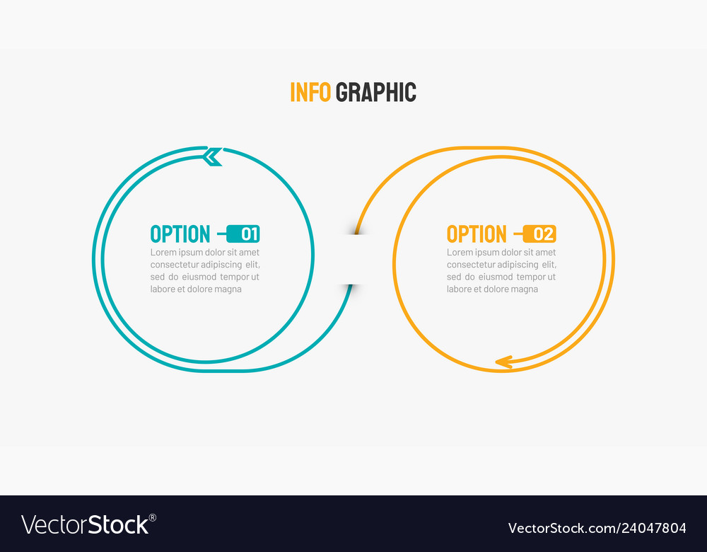 Business infographic design arrow with 2 options