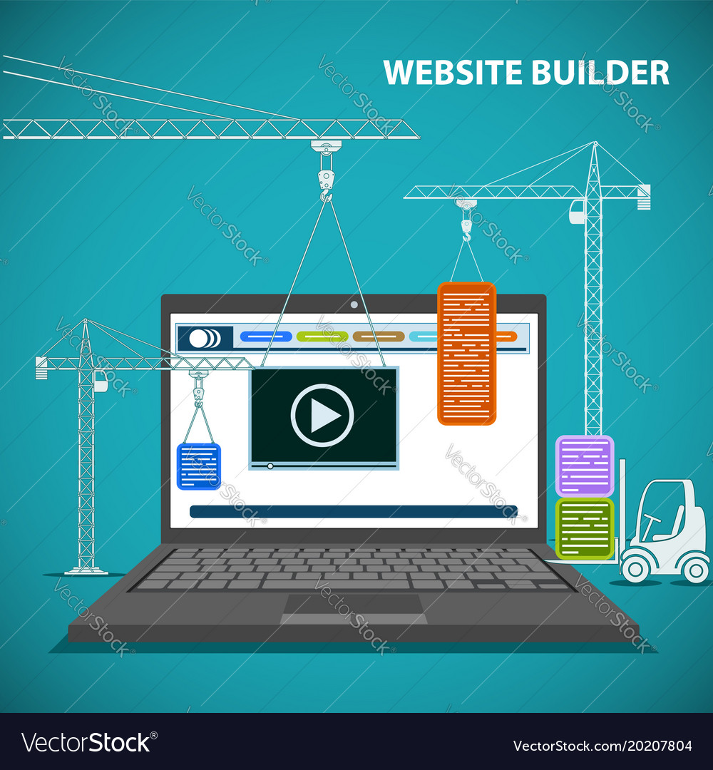 Construction machinery is building a website on a