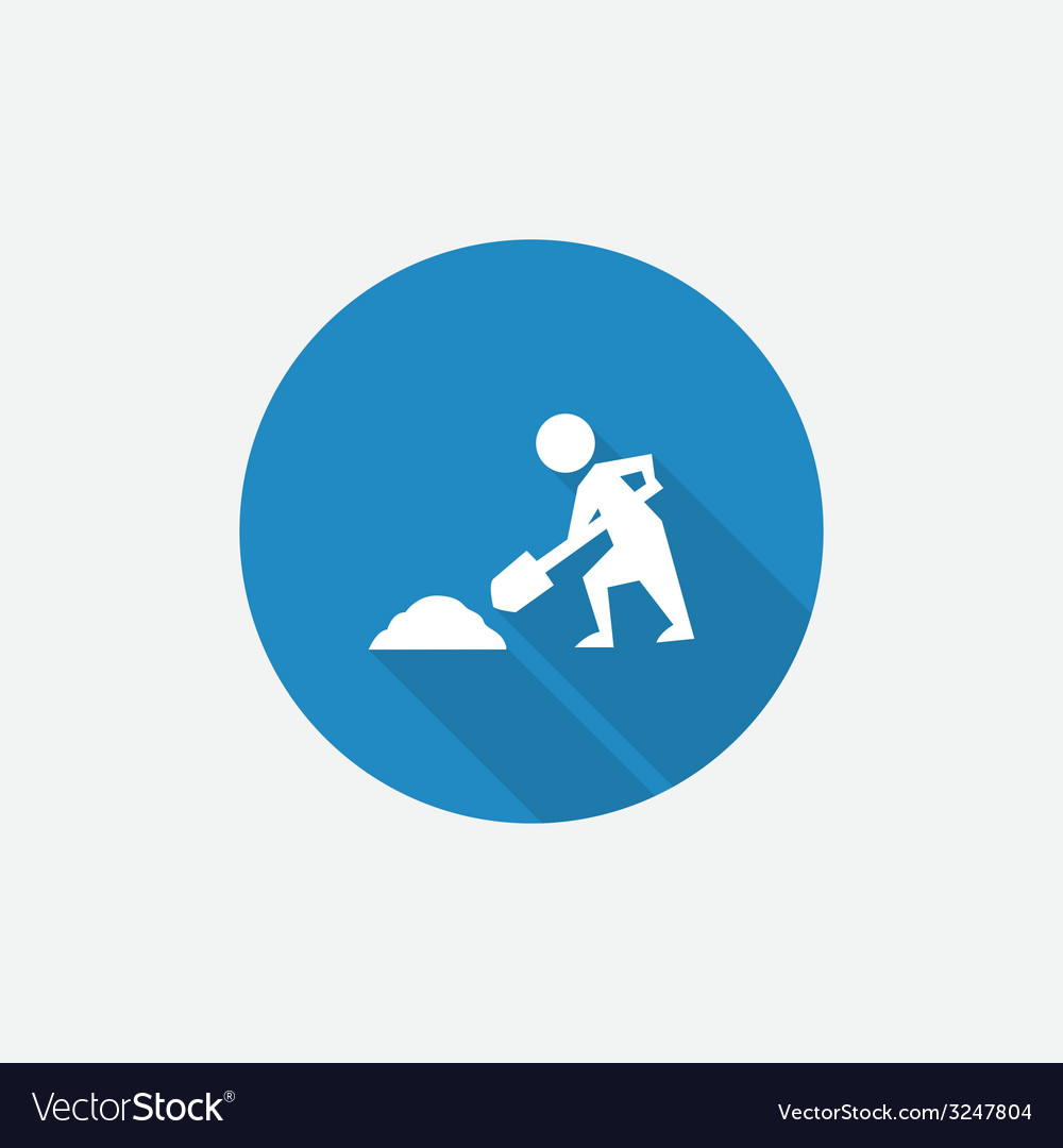 Construction works flat blue simple icon with long