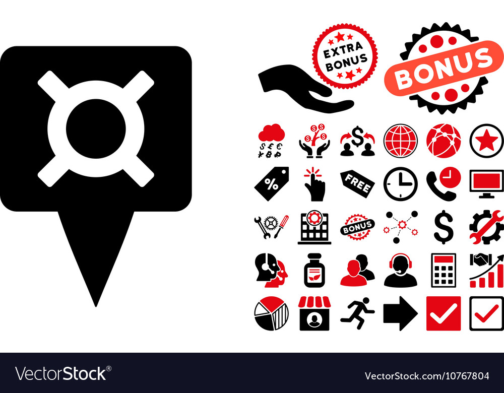 Currency Map Pointer Flat Icon with Bonus