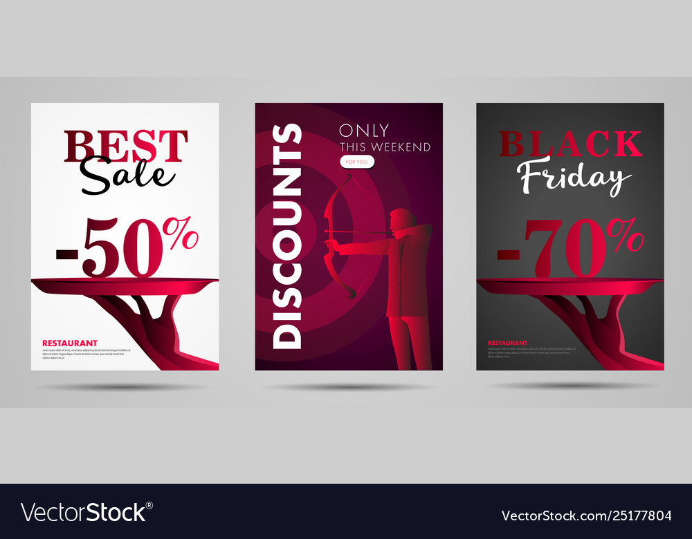 Discounts posters with stylized hand offeres