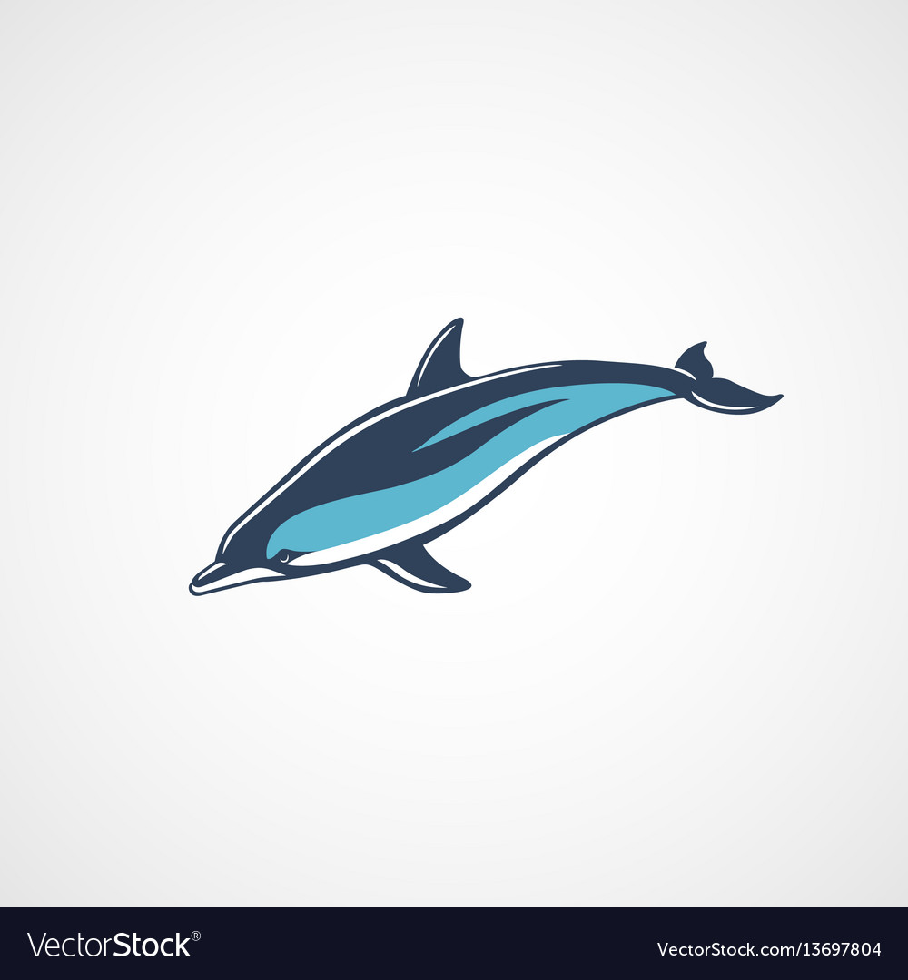 Dolphin swim color logo sign isolated vector image
