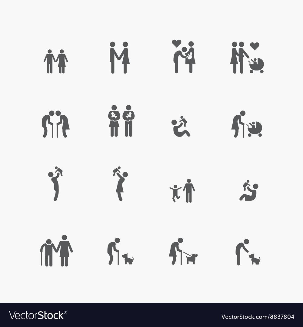 Family silhouette icons flat design set
